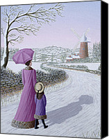 Christmas Cards Painting Canvas Prints - Almost Home Canvas Print by Peter Szumowski