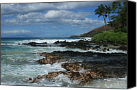 Ocean Digital Art Canvas Prints - Aloha Island Dreams Paako Beach Makena Secret Cove Hawaii Canvas Print by Sharon Mau