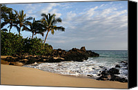 Beach Photograph Digital Art Canvas Prints - Aloha mai e Paako Beach Honuaula Makena Maui Hawaii Canvas Print by Sharon Mau