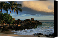 Hawaii Beach Art Canvas Prints - Aloha Naau Sunset Paako Beach Honuaula Makena Maui Hawaii Canvas Print by Sharon Mau