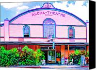 Kaanapali Mixed Media Canvas Prints - Aloha Theatre Kona Canvas Print by Dominic Piperata
