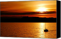 Bathrooms Canvas Prints - Alone - Great Salt Lake Sunset Canvas Print by Steven Milner