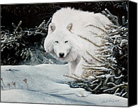 Wolf Pastels Canvas Prints - Alone On The Path Canvas Print by David Vincenzi
