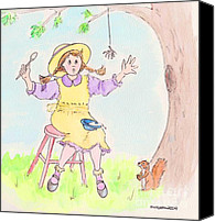 Porridge Canvas Prints - Along Came A Spider Little Miss Muffet Canvas Print by Marybeth Friel-Patton