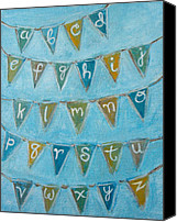 Bunting Painting Canvas Prints - Alphabet Bunting I Canvas Print by Kristen Fagan