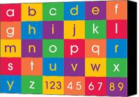 Alphabet Digital Art Canvas Prints - Alphabet Colors Canvas Print by Michael Tompsett