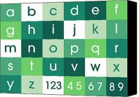 Alphabet Digital Art Canvas Prints - Alphabet Green Canvas Print by Michael Tompsett