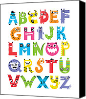 Critters Canvas Prints - Alphabet Monsters Canvas Print by Andi Bird