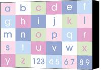 Alphabet Digital Art Canvas Prints - Alphabet Pastel Canvas Print by Michael Tompsett