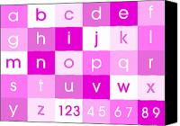 Alphabet Digital Art Canvas Prints - Alphabet Pink Canvas Print by Michael Tompsett