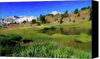 Alpine Mixed Media Canvas Prints - Alpine Meadow by Frank Lee Hawkins Canvas Print by Frank Hawkins Eastern Sierra Gallery