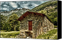 Ruin Digital Art Canvas Prints - Alpine Ruins Canvas Print by Jeff Kolker