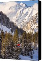 Pine Trees Canvas Prints - Alta Ski Resort Wasatch Mts Utah Canvas Print by Utah Images