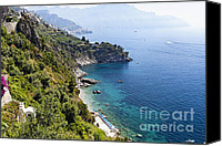 Amalfi Coast Canvas Prints - Amalfi Coast at Conca dei Marini Canvas Print by George Oze