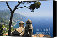 Amalfi Coast Canvas Prints - Amalfi Coast Scenic with an Old Church Canvas Print by George Oze