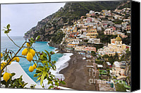 Amalfi Coast Canvas Prints - Amalfi Coast Town Canvas Print by George Oze