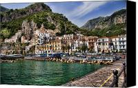 Village Canvas Prints - Amalfi Canvas Print by David Smith