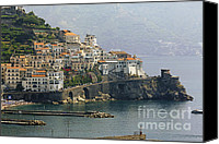 Amalfi Coast Canvas Prints - Amalfi Daytime Scenic Canvas Print by George Oze