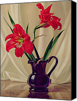 Signed Canvas Prints - Amaryllis Lillies in a Dark Glass Jug Canvas Print by Albert Williams