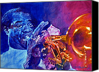Featured Painting Canvas Prints - Ambassador Of Jazz - Louis Armstrong Canvas Print by David Lloyd Glover