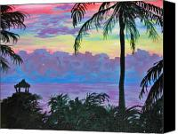 Tropical Sunset Canvas Prints - Ambergris Caye Sky Belize Canvas Print by Emily Michaud