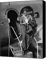 Scarf Photo Canvas Prints - Amelia Earhart 1897-1937 Standing Canvas Print by Everett