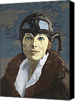 Women Drawings Canvas Prints - Amelia Earhart Canvas Print by Suzanne Gee