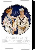 Us Navy Canvas Prints - America Calls Enlist In The Navy Canvas Print by War Is Hell Store