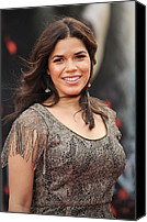 Wavy Hair Canvas Prints - America Ferrera Wearing A James Canvas Print by Everett