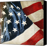 4th Canvas Prints - America flag Canvas Print by Setsiri Silapasuwanchai