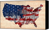 States Map Canvas Prints - America Canvas Print by Mark Ashkenazi
