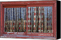 Rural Canvas Prints - America Still Beautiful Red Picture Window Frame Photo Art View Canvas Print by James Bo Insogna