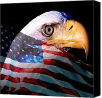 Flag Mixed Media Canvas Prints - America the Beautiful Canvas Print by Tray Mead