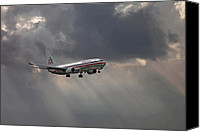 Approaching Canvas Prints - American aircraft landing after the rain. Miami. FL. USA Canvas Print by Juan Carlos Ferro Duque