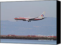 Airways Canvas Prints - American Airlines Jet Airplane At San Francisco International Airport SFO . 7D12212 Canvas Print by Wingsdomain Art and Photography