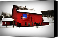 Barn Digital Art Canvas Prints - American Barn Canvas Print by Bill Cannon