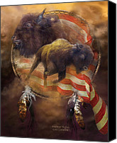 Buffalo Mixed Media Canvas Prints - American Buffalo Canvas Print by Carol Cavalaris