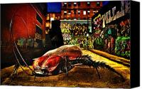 Scene Mixed Media Canvas Prints - American Cockroach Canvas Print by Bob Orsillo