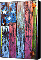 Wooden Tapestries Textiles Canvas Prints - American flag gate Canvas Print by Garry Gay