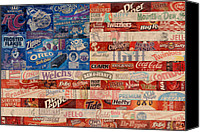 Patriotism Mixed Media Canvas Prints - American Flag - Made From Vintage Recycled Pop Culture USA Paper Product Wrappers Canvas Print by Design Turnpike
