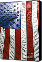 Independence Day  Canvas Prints - American flag Canvas Print by Tony Cordoza