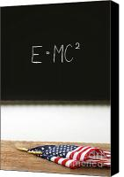 Patriotism Photo Canvas Prints - American flags laying on school desk Canvas Print by Sandra Cunningham