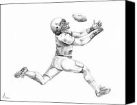 Football Drawings Canvas Prints - American Football Canvas Print by Murphy Elliott