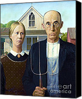 Reproduction Canvas Prints - American Gothic Canvas Print by Pg Reproductions