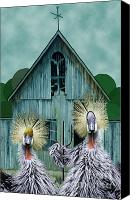 Barn Digital Art Canvas Prints - American Gothic Revisisted  Canvas Print by Lois Mountz