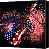 Fireworks Digital Art Canvas Prints - American Guitar Canvas Print by Bill Cannon