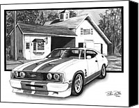 American Car Drawings Canvas Prints - American Heartland Canvas Print by Peter Piatt