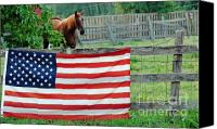 4th July Mixed Media Canvas Prints - American Horse Canvas Print by Anahi DeCanio