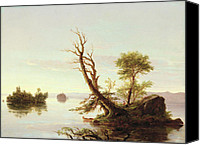 Cole Canvas Prints - American Lake Scene Canvas Print by Thomas Cole