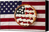 Foodstuff Canvas Prints - American pie on American flagAmerican pie on American flagAmer Canvas Print by Garry Gay